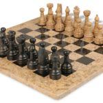 Classic Coral Stone & Black Marble Chess Set with 16″ Board