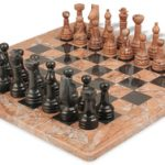 Classic Marina Stone & Black Marble Chess Set with 16″ Board