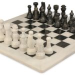 Classic White Onyx & Black Marble Chess Set with 16″ Board
