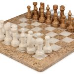 Classic Coral Stone & White Onyx Chess Set with 16″ Board