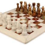 Classic White & Mulit-Green Onyx Chess Set with 16″ Board