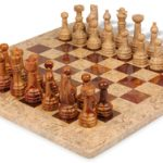 Classic Coral Stone & Red Marble Chess Set with 16″ Board