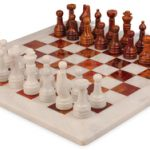 Classic White Onyx & Red Marble Chess Set with 16″ Board