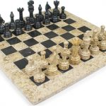 Classic Coral Stone & Black Marble Chess Set – 3″ King