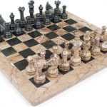 Classic Marina (Rose) & Black Marble Chess Set – 3″ King