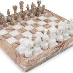 Classic Marina (Rose) & White Onyx Chess Set – 3″ King