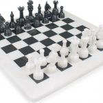 Classic White Onyx & Black Marble Chess Set – 3″ King