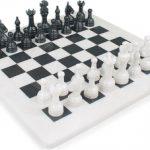 Classic White Onyx & Black Marble Chess Set – 3″ King