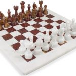 Classic White Onyx & Red Marble Chess Set – 3″ King
