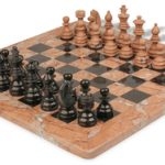 Black Marble & Marina Stone Staunton Chess Set with 16″ Board