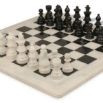 Black & White Marble Staunton Chess Set with 16″ Board