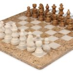 Coral Stone & White Onyx Staunton Chess Set with 16″ Board