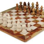 Multi-Green & White Onyx Staunton Chess Set with 16″ Board