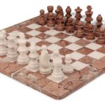 Marina Stone & White Marble Staunton Chess Set with 16″ Board