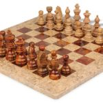 Coral Stone & Red Marble Staunton Chess Set with 16″ Board