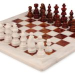 Red Mable & White Onyx Staunton Chess Set with 16″ Board