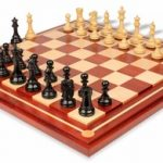 British Staunton Chess Set in Ebony & Boxwood with Mission Craft Padauk Chess Board – 4″ King