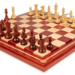 British Staunton Chess Set in African Padauk & Boxwood with African Padauk and Maple Chess Board- 4″ King