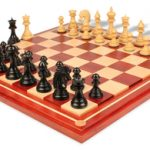 Cyrus Staunton Chess Set Deluxe Chess Set  Package in Ebony & Boxwood with Maple Solid Wood Chess Board- 4.4″ King