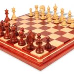 Cyrus Staunton Deluxe Chess Set Package in African Padauk & Boxwood with Maple Solid Wood Chess Board- 4.4″ King