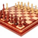 Fierce Knight Staunton Chess Set in African Padauk & Boxwood with Mission Craft African Padauk Chess Board – 3.5″ King