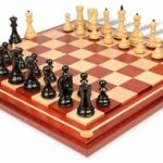 Yugoslavia Staunton Chess Set in Ebony & Boxwood with Mission Craft African Padauk Chess Board – 3.875″ King