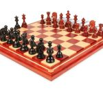Wellington Staunton Chess Set in Ebony & African Padauk with Maple Solid Wood Chess Board – 4.25″ King