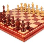 Wellington Staunton Chess Set in African Padauk & Boxwood with Maple Solid Wood Chess Board – 4.25″ King