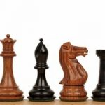 New Exclusive Staunton Chess Set in Ebonized Boxwood & Golden Rosewood – 3″ King