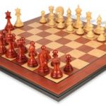 Cyrus Staunton Deluxe Chess Set Package in African Padauk & Boxwood – 4.4″ King