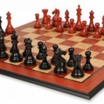 Fierce Knight Staunton Chess Set in Ebony & African Padauk with Molded Padauk Chess Board – 3″ King