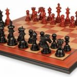 Wellington Staunton Chess Set in Ebony & African Padauk with Molded Padauk Chess Board – 4.25″ King