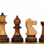 Parker Staunton Chess Set in Burnt Golden Rosewood  & Boxwood – 3.75″ King