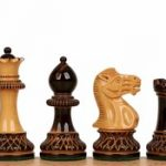 Parker Staunton Chess Set in Burnt Boxwood & Boxwood – 3.75″ King