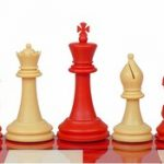 Crown Plastic Chess Set Red & Camel Pieces – 4″ King