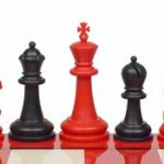 Guardian Plastic Chess Set Black & Red Pieces – 4″ King
