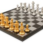 The Chess Store Gold & Silver Folding Magnetic Chess & Checkers Travel Set – 14″