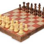 Rosewood Color Folding Magnetic Travel Chess Set – 11″
