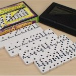 Double 6 Tournament Black Dot Domino Set