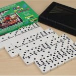 Double 6 Tournament Black Dot Spinner Domino Set
