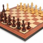British Staunton Chess Set in Rosewood & Boxwood with Rosewood Molded Chess Board – 3″ King