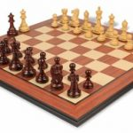 Deluxe Old Club Staunton Chess Set in Rosewood & Boxwood with Rosewood Molded Chess Board – 3.75″ King