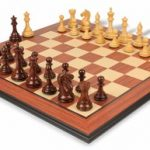 Fierce Knight Staunton Chess Set in Rosewood & Boxwood with Rosewood Molded Chess Board – 3″ King
