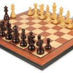 French Lardy Staunton Chess Set in Rosewood & Boxwood with Rosewood Molded Chess Board – 3.75″ King