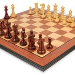 Grande Staunton Chess Set Rosewood & Boxwood with Rosewood Molded Chess Board – 4″ King