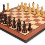 Yugoslavia Staunton Chess Set in Rosewood & Boxwood with Rosewood Molded Chess Board – 3.875″ King