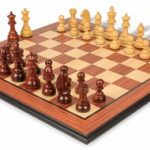 German Knight Staunton Chess Set in Rosewood & Boxwood with Rosewood Molded Chess Board – 3.75″ King