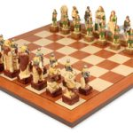 Celtic Hand Decorated Theme Chess Set & Mahogany Board Package
