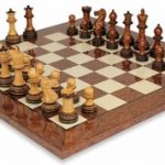 Parker Staunton Chess Set in Burnt Golden Rosewood with Brown Ash Burl & Maple Chess Board – 3.75″ King