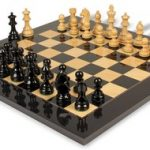 German Knight Staunton Chess Set in High Gloss Black & Natural with Black & Ash Burl Chess Board – 3.75″ King